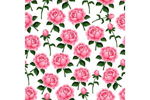 Seamless pattern of vector spring roses flowers