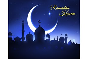 Ramadan Kareem greeting card with muslim mosque