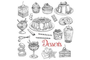 Vector sketch icons of dessert cookies and cakes