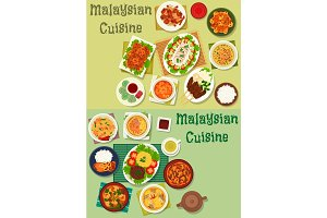 Malaysian cuisine icon set for healthy food design