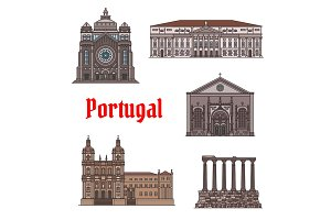 Famous travel landmark of Portugal icon set