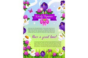Lovely summer flowers vector poster
