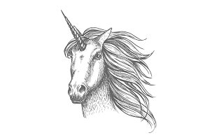 Unicorn mythic horse vector sketch