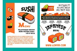 Sushi menu for japanese cuisine restaurant design