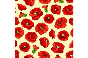 Vector poppy flowers blossoms seamless pattern