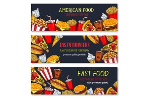 Vector banners fast food meal snacks and desserts