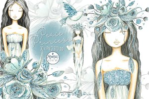 Mint Blue Girl Clipart Watercolor