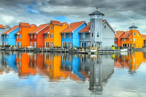 Colorful houses on water, Groningen