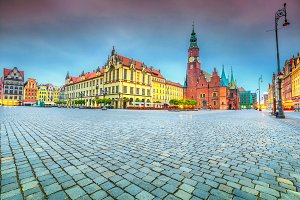 Morning scene in Wroclaw, Poland