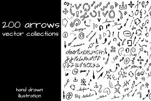 200 Hand Drawn Arrows in Vector