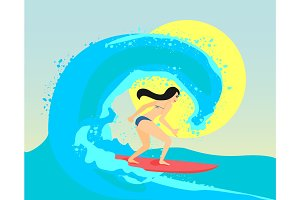 Surfing girl riding on the big wave