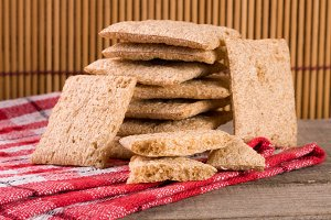stack of crisp bread on a wooden table