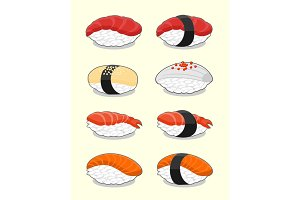 Set of nigiri sushi