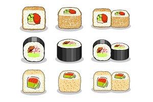 Set of sushi rolls.