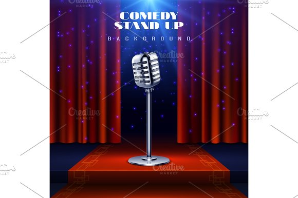 Stand Up Comedy Vector Background With Retro Microphone On Stage And Red Curtain