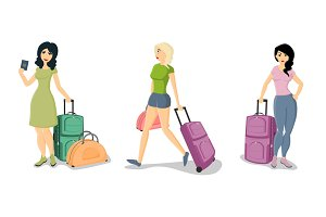 Set of women holding suitcases