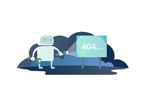 Night robot with flashlight in space signboard 404 error. cute Illustration for error page 404 not found