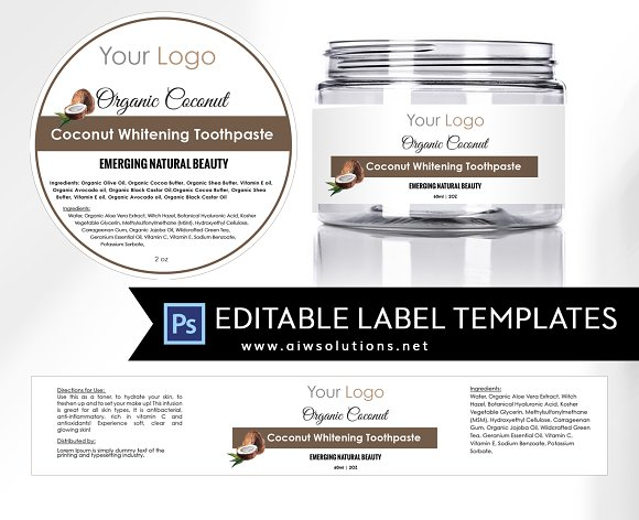 coconut round label id17 stationery templates creative market