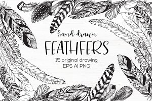 Hand drawn feathers set