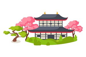Japanese Pagoda In Cherry Blossom Flat Vector