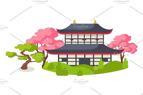 Japanese Pagoda In Cherry Blossom Flat Vector