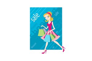 Shopping sale girl woman goes