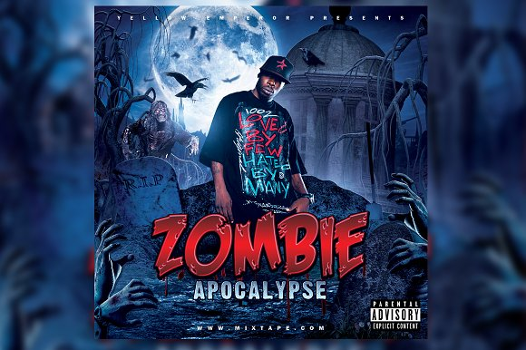 Zombie Apocalypse Mixtape Cover PSD in Templates