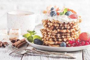 Belgian waffles with creem and berries