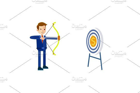 Businessman Hits Target With Bow Illustration