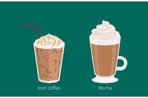 Mocha and Iced Coffee Drinks Cartoon Illustration