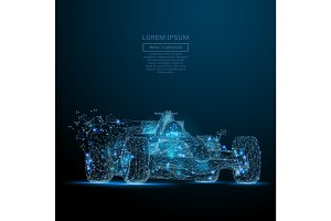 F1 CAR low poly blue