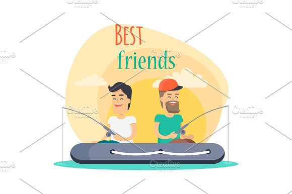 Best Friends Go Fishing Together Illustration