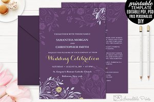 Flowers Wedding Invitation Template