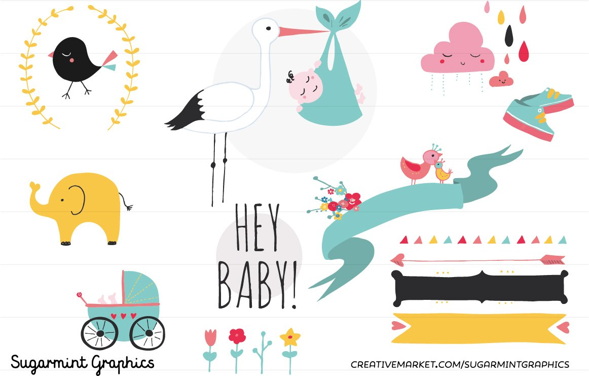 Baby shower clip art cute kawai illustrations creative market buycottarizona Gallery