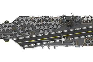 aircraft carrier top view isolated