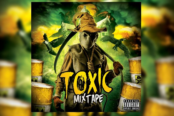 Toxic CD Mixtape Cover Template in Templates
