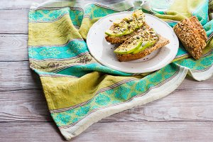 Bread with avocado and seeds