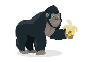 Gorilla Cartoon Icon in Flat Design