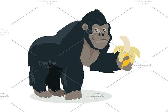 Gorilla Cartoon Icon In Flat Design