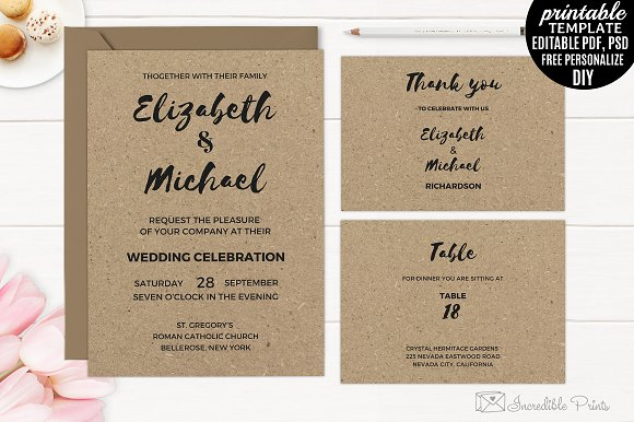 Incredible Kraft Paper Invitation. Rustic Wedding Invitation. Modern Wedding Invitation. All text are editable. All layers is separate. Editable PDF and PSD. Se