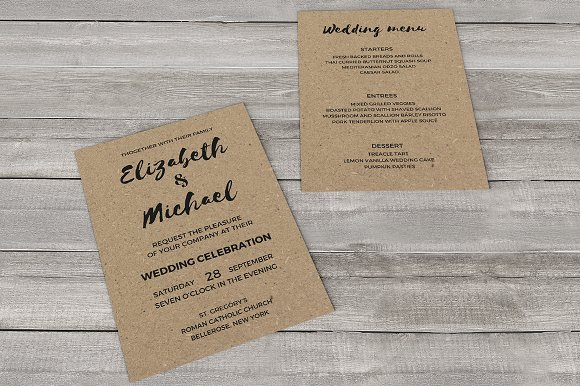 Kraft Paper Wedding Invitations | Kraft Paper Wedding Invitation Invitation Templates Creative Market