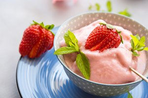 Home made strawberry ice cream in bowl