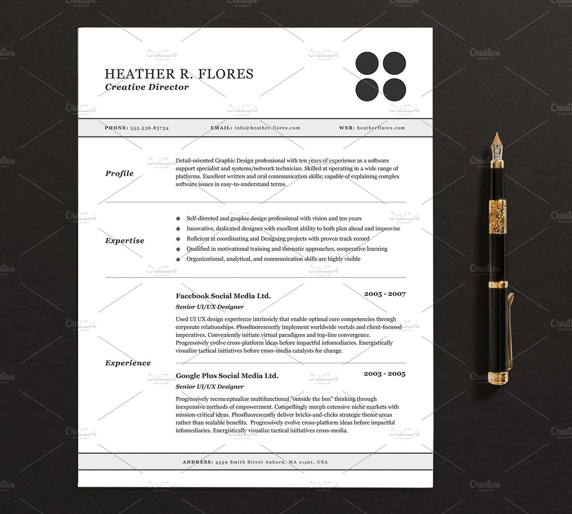 3 pages resumecv template full set resume templates creative market - Resume Templates Pages