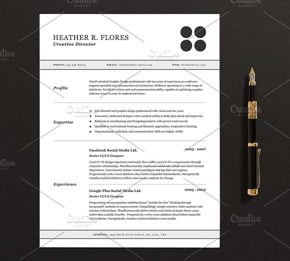 3 pages resumecv template full set resumes
