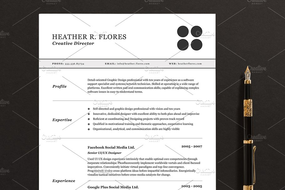3 Pages Resume CV Template Full Set Templates Creative Market