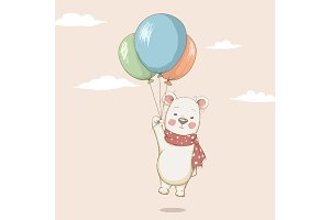 Cute bear flying with balloons