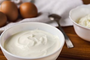 sour cream, cottage cheese and eggs