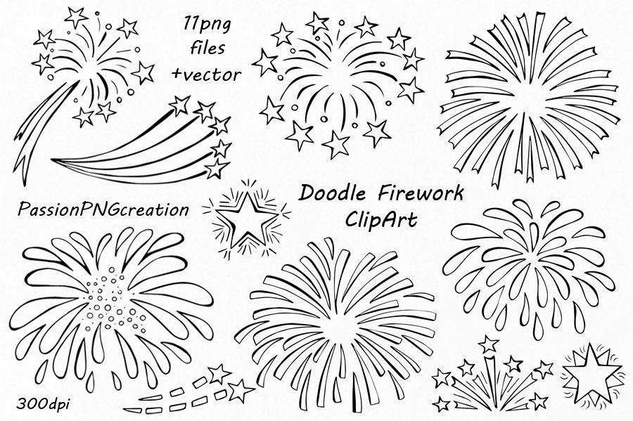 Doodle Firework Clipart ~ Illustrations ~ Creative Market
