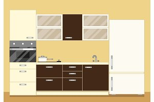 Modern kitchen interior as furniture set and fridge. Flat style vector illustration.