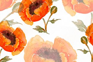 poppies seamless pattern | JPEG